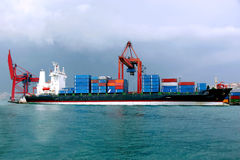 Container ship under loading Royalty Free Stock Photography