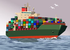 Container ship, vector illustration. Container ship, in the open sea, vector illustration Royalty Free Stock Photo