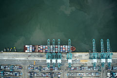 Container ship vertical view Royalty Free Stock Photo