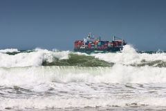 Container ship and waves Stock Photography