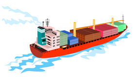 Container ship on white Royalty Free Stock Photos