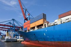 Container shipment. And transportation at port of hamburg Royalty Free Stock Photo