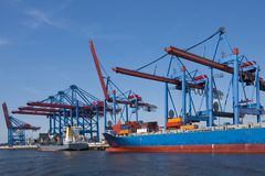 Container shipping. Port of shipment with loading cranes  in hamburg Stock Photography