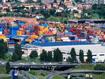 Container shipping depot, Italy. Royalty Free Stock Photos