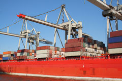 Container Shipping Industry XXI. Picture of a container ship Terminal Royalty Free Stock Images