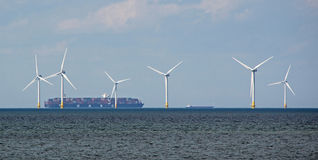 Container shipping windfarm Royalty Free Stock Photo