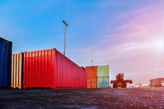 Container in shipping yard of dockyard  stacked  for transport. Container in shipping yard of dockyard  for transport import, export and logistic industrial royalty free stock image