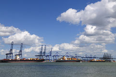 Container ships in Felixstowe port UK Stock Images