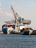 Container Ships in Hamburg Harbor, Royalty Free Stock Photo