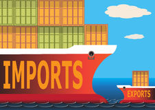 Imports & Exports. Container ships, one full and one almost empty. Representing an imbalance in imports and exports Stock Images