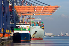 Container ships port Rotterdam royalty free stock images