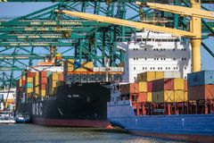 Container ships port shipping terminal royalty free stock images
