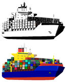 Container ships, vector illustration. Container ship, colored, black and white, isolated on white, vector illustration Stock Photos
