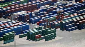 Container sorting trucks Stock Photos