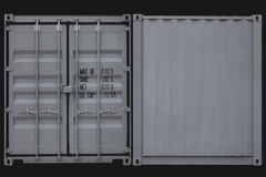 Container stack. Cargo containers in front and back view Royalty Free Stock Photo