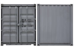 Container stack. Cargo containers in front and back view Stock Images