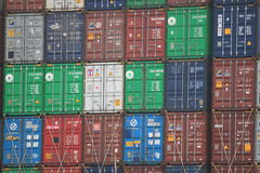 Container stack. Container on a containership in the harbor of Hamburg, Germany Stock Photography