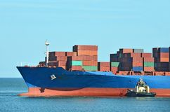 Container stack on freight ship Stock Photo