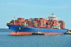 Container stack on freight ship Royalty Free Stock Photography