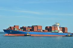Container stack on freight ship Stock Photography