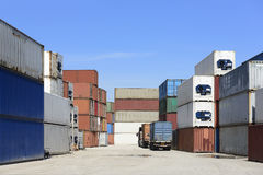 The container stack at  ship yard Royalty Free Stock Photography
