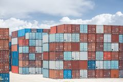 Container stack yard Royalty Free Stock Photography