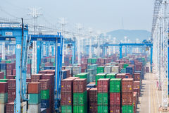 Container stack yards Royalty Free Stock Photos