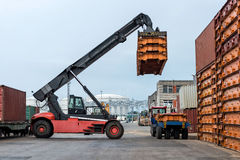 Container stacking in warehouse. Transportation industry. Container stacking in warehouse Stock Image