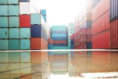 Container stacks stock image