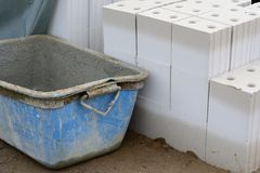 Container and stone wall royalty free stock photos
