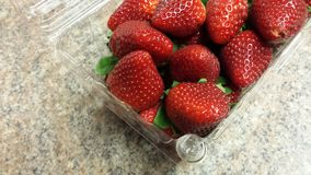 Container of strawberries Royalty Free Stock Photos