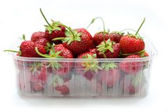 Container with strawberries Royalty Free Stock Photography