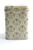 Container for tea, coffee. Colored metal container with patterns for tea, coffee stock photography