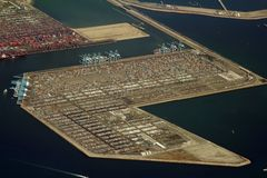 Container terminal. Cargo container terminal, long beach Royalty Free Stock Photo