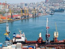 Container terminal. At russian port Vladivostok presenting goods trade shipping Royalty Free Stock Photography