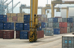 Container Terminal. Activities in a container terminal for export and import shipping Royalty Free Stock Photo