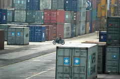 Container Terminal. Activities in a container terminal for export and import shipping Stock Photography