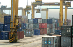 Container Terminal. Activities in a container terminal for export and import shipping Stock Photo