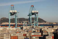 Container terminal in Algeciras, Spain Royalty Free Stock Photos