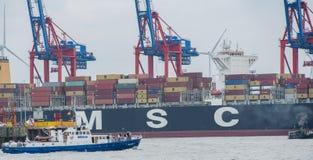 Container terminal Burchardkai in Hamburg on the Elbe stock photos