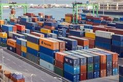Container terminal in Casablanca sea port, Morocco Royalty Free Stock Photos