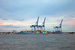 Container terminal at dawn Royalty Free Stock Image