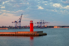 Container terminal at dawn Royalty Free Stock Photography