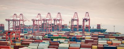 Container terminal at dusk Royalty Free Stock Photography