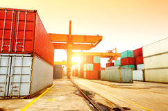 The container terminal at dusk Royalty Free Stock Photo