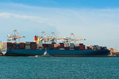 Container terminal and full load shipping. Stock Image