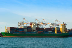 Container terminal and full load shipping. Stock Images