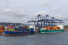 Container terminal in Gdynia, industrial area, Poland. royalty free stock photo