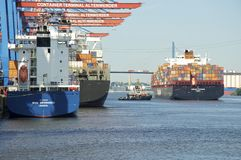 Container terminal in Hamburg Altenwerder Stock Images