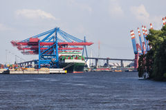 Container Terminal in Hamburg, Germany Royalty Free Stock Photo